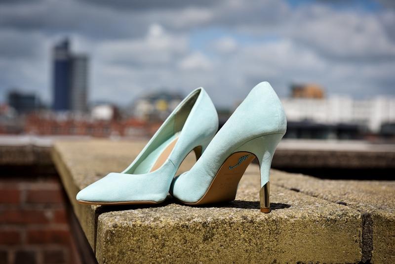 photo of blue wedding shoes