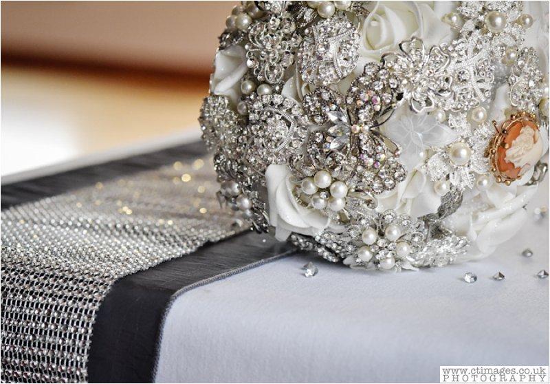 brooch, bouquet, silver decor, brides flowers, wedding, handmade bouquet,