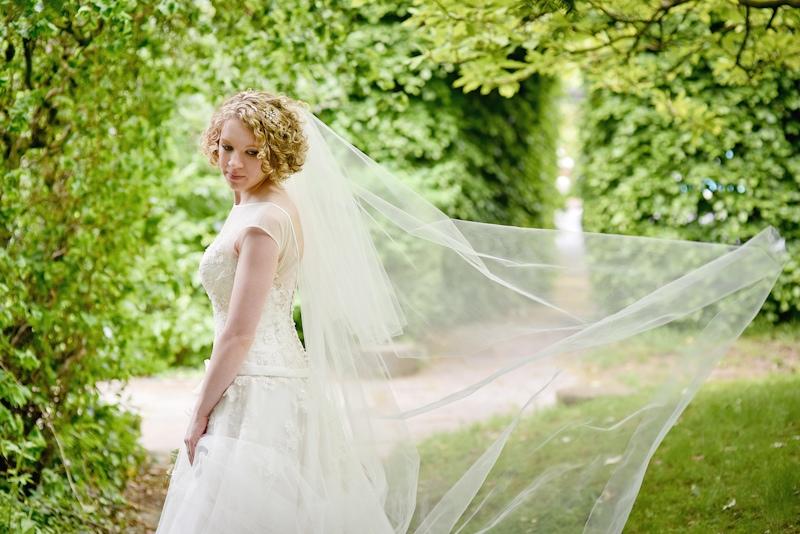 haigh hall wedding photography bride and veil