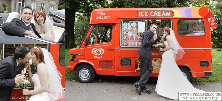 bride having ice-cream at haigh hall wedding