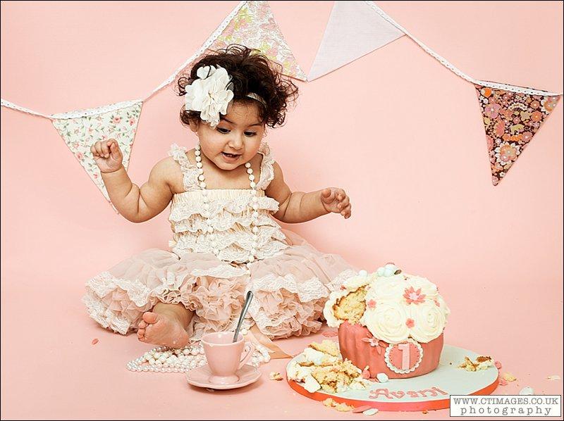 tea party baby photo shoot, vintage cakesmash, giant cupcake in peach,