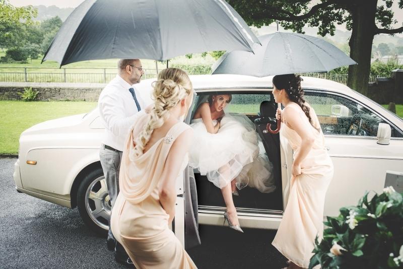 manchester wedding photographer bride and car