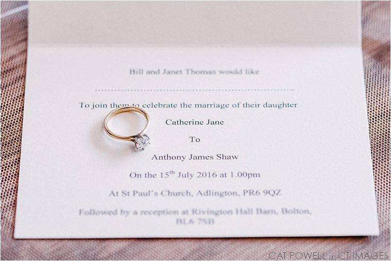 wedding invitation, rivington hall barn, wedding photography,